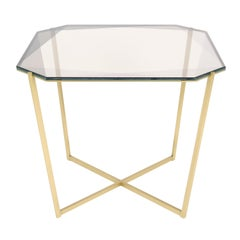 Gem Square Dining / Entry Table-Smoke Glass with Brass Base by Debra Folz