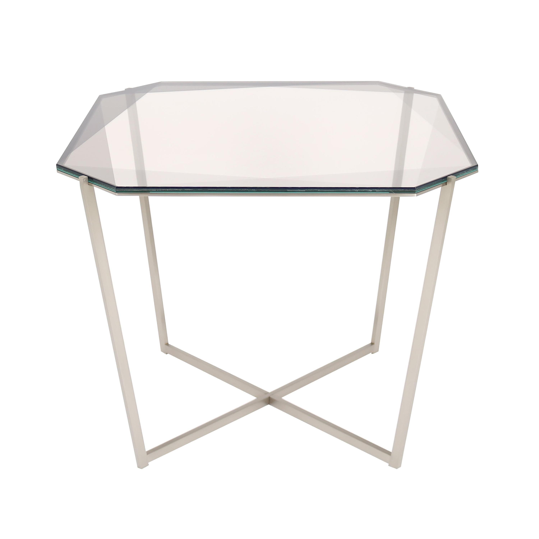 Gem Square Dining / Entry Table-Smoke Glass W/ Steel Base by Debra Folz