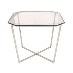 Gem Square Dining / Entry Table-Smoke Glass W/ Steel Base by Debra Folz