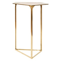 Gem Table in Brass and Peach Mirror by Cam Crockford
