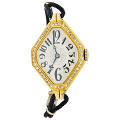 Gemex Art Deco 1.00 Carat Diamond 18 Karat Gold Antique Watch Bracelet