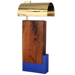 Bauhaus inspired contemporary table lamp in solid walnut and brass