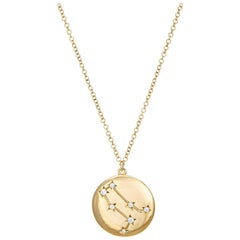 Gemini Constellation Diamond Necklace Estate 14k Gold Zodiac Celestial Jewelry