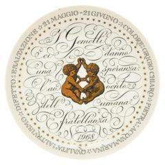 Gemini, Zodiac Plate Series by Piero Fornasetti, 1968