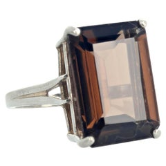 Gemjunky 12.5 Rectangular Cushion Cut Smoky Quartz Sterling Silver Ring