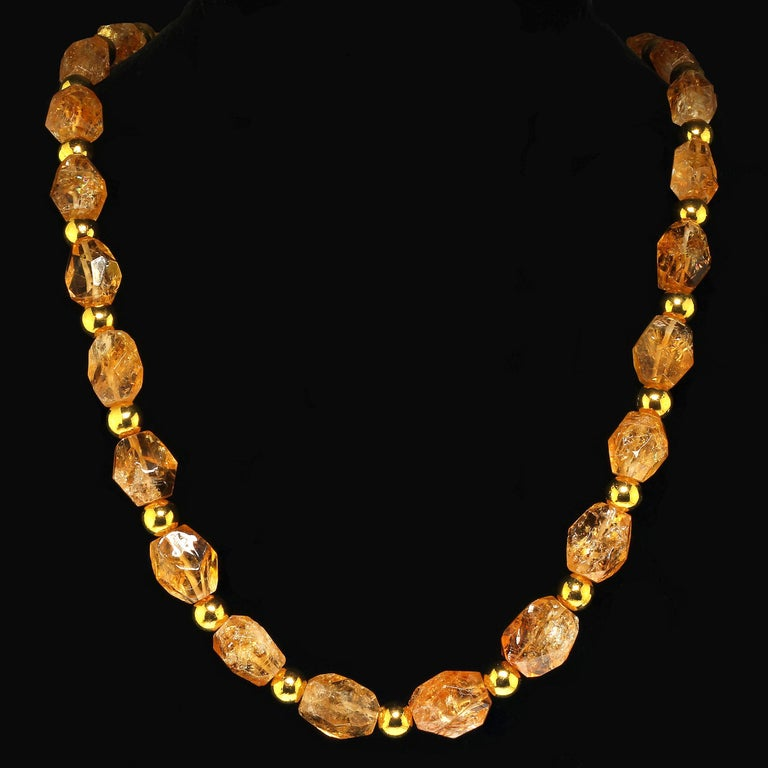 Artisan Sparkling Chunky Citrine Nuggets with Goldy Accents Necklace For Sale