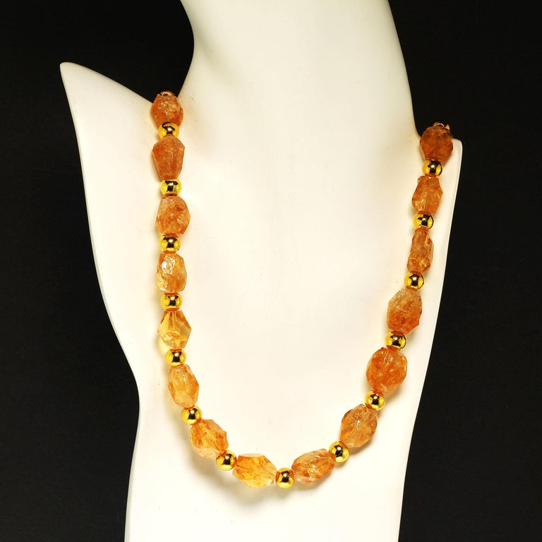 Bead Sparkling Chunky Citrine Nuggets with Goldy Accents Necklace For Sale