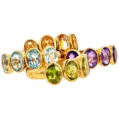 Gemjunky 4 Stackable Amethysts Citrines, Peridots, Aquamarines 18Kt Gold Rings