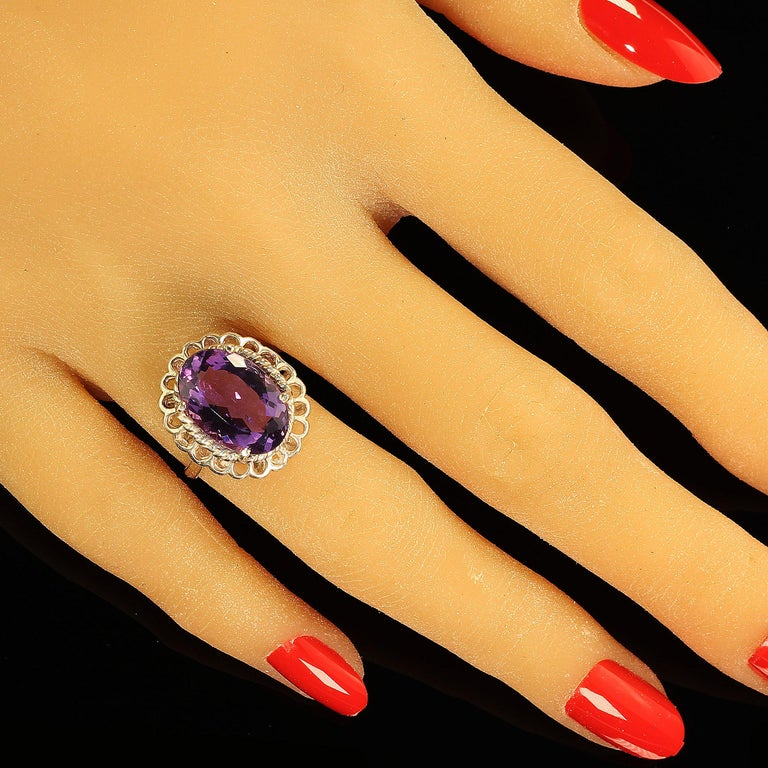 Oval Cut Amethyst Oval in Detailed Basket Sterling Silver Ring   For Sale