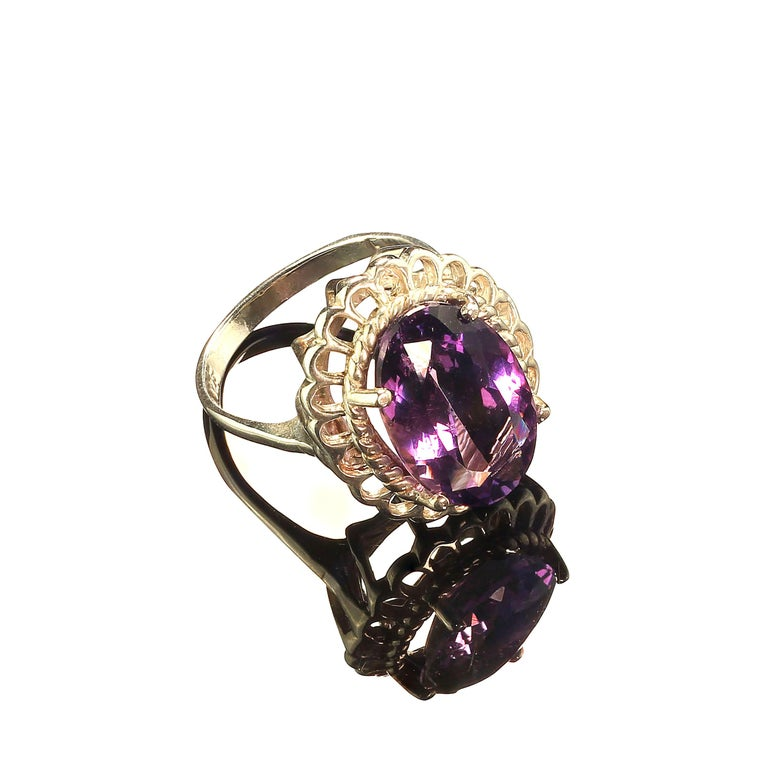 Amethyst Oval in Detailed Basket Sterling Silver Ring   In New Condition For Sale In Tuxedo Park, NY