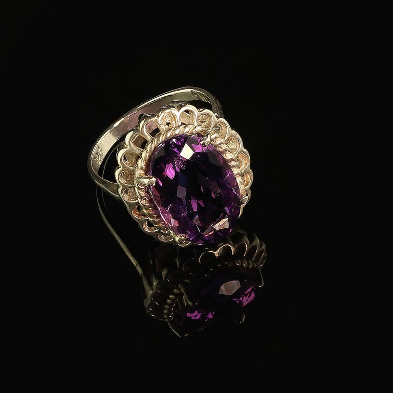 Women's or Men's Amethyst Oval in Detailed Basket Sterling Silver Ring   For Sale