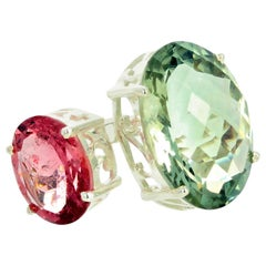 Gemjunky Artistic 10.45 Carat Green Amethyst and 3.86 Carat Pink Tourmaline Ring