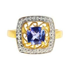 Gemjunky Brilliant 1.35 Ct Tanzanite & Diamond Accented Gold Ring