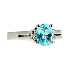 Gemjunky Brilliant Blue Natural 1.25 Ct Apatite & White Diamond Gold Ring