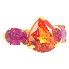 Gemjunky Brilliant Rare 7.62 Ct. Spessartite Garnet and Tourmaline 18K Gold Ring