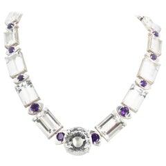 Gemjunky Brilliant Silver Quartz and Amethyst 18 Sparkling Silver Necklace
