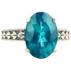 Gemjunky Brilliant Turquoise Blue Color Sparkling 4.6 Carat Apatite Silver Ring