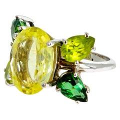 Gemjunky Butterfly Rare Fiery Ambligonite & Exquisite Tourmalines 18Kt Gold Ring