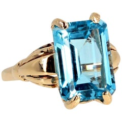 Gemjunky Candy Collection Intense Sky Blue 9.7Ct. Clear Topaz 14Kt Gold Ring