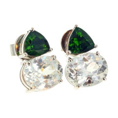 Gemjunky Chrome Diopside & Natural Cambodian Zircons White Gold Earrings