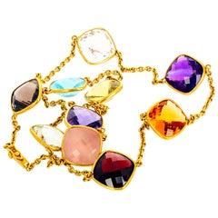 Gemjunky Citrine, Garnet, Aquamarine, Amethyst, Smoky Quartz 18k Gold Necklace