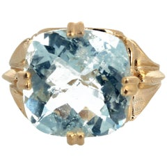 Gemjunky Classic Beautiful Solitaire Ct. Sparkling Aquamarine 14 Karat Gold Ring