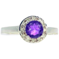 "Gemjunky ""Congratulations Collection"" Petite Amethyst and Diamond Gold Ring"