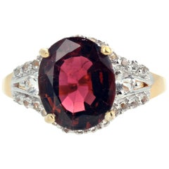 "Gemjunky ""Congratulations Collection"" Stunning Natural Red Zircon & Diamond Ring"