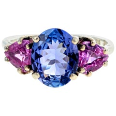 "Gemjunky ""Congratulations Collection"" Tanzanite and Pink Sapphire Silver Ring"