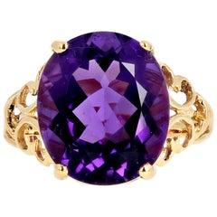 Gemjunky Debutante Collect Exquisite 7.5 Cts Sparkling Amethyst 14Kt Gold Ring