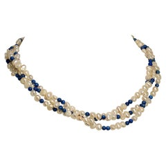 Gemjunky Delicate Three-Strand Necklace Iridescent White Pearls and Lapis Lazuli