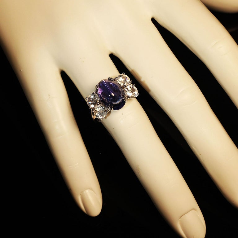 Dinner Ring of Cabochon Tanzanite and Sparkling Cambodian Zircons For Sale 1