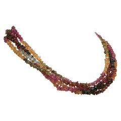 Gemjunky, Double-Strand Necklace of Sparkling Multi-Color Tourmaline