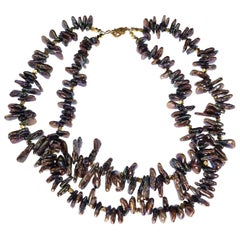 Gemjunky Double Strand of Bronzy Iridescent Triangular Pearls with Goldy Accent