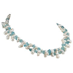 Gemjunky Double Strand of White Pearls and Blue Apatite Necklace