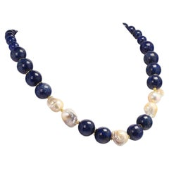 Gemjunky Dramatic Blue Lapis Lazuli and White Baroque Pearl Necklace