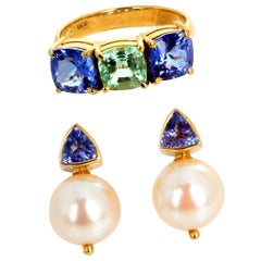 Gemjunky Dramatic Rare Paraiba Tourmaline & Blue Tanzanite Ring & Pearl Earrings