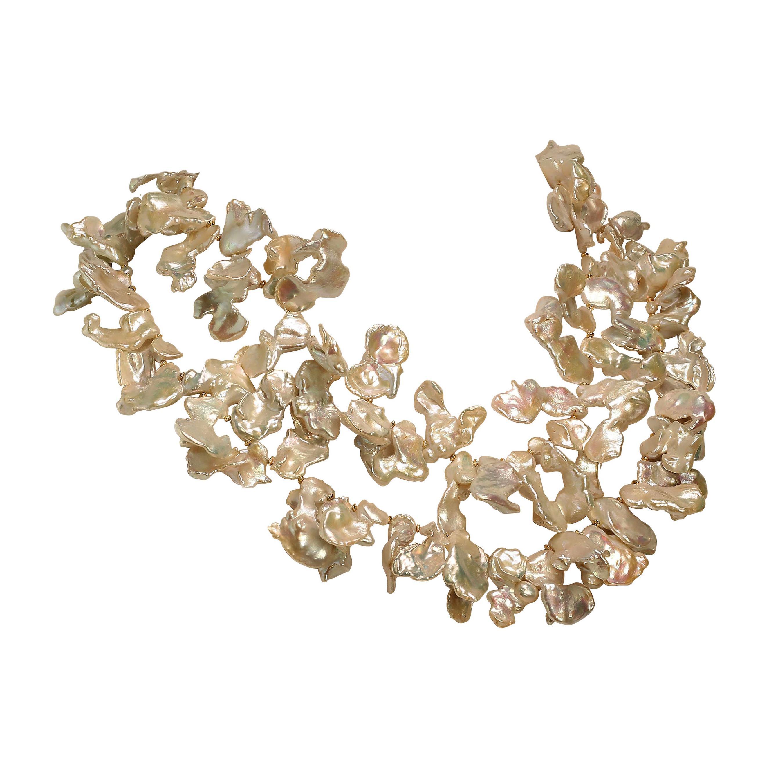 Gemjunky Elegant White Keshi Pearl Necklace June Birthstone