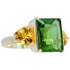 Gemjunky Elegant Classic 6.5 Carat Green Tourmaline and Yellow Citrines Ring
