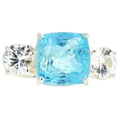 Gemjunky Elegant Classic 6.76 Carat Blue Aquamarine & Intense White Zircons Ring