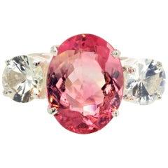Gemjunky Elegant Classic Kaleidoscope 4.62Ct Pink Tourmaline & White Zircon Ring