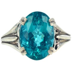 Gemjunky Elegant Fiery Turquoise Blue Color 5.7 Ct. Apatite Sterling Silver Ring