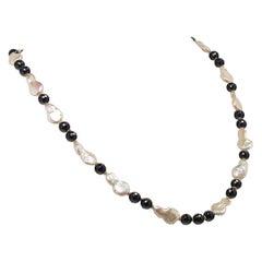 Elegant Freshwater Pearl and Black Onyx Necklace June Birthstone