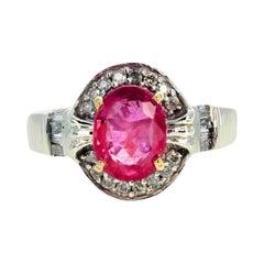 Gemjunky Elegant Pinky Purple Natural 1.17 Ct. Sapphire & Diamond Gold Ring