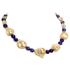 Gemjunky Elegant White Baroque Pearl and Tanzanite Necklace