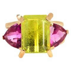 Gemjunky Exotic 5.17Ct Rare Intense Chrysoberyl & Tourmaline 18K Y Gold Ring