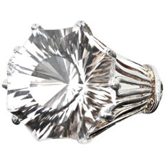 Gemjunky Extraordinary Glittering Brilliant 24 Carat Silver Quartz Silver Ring