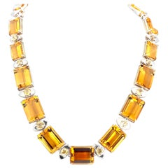 Gemjunky Extraordinary Natural Citrine and Yellow Sapphire Silver Necklace