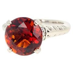 AJD 4.75 Ct Reddish Orangy Rare Rio Grande Citrine & Diamond Gold Ring