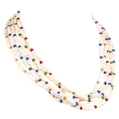 Gemjunky Five-Strand Pearl and Czech Bead Necklace June Birthstone